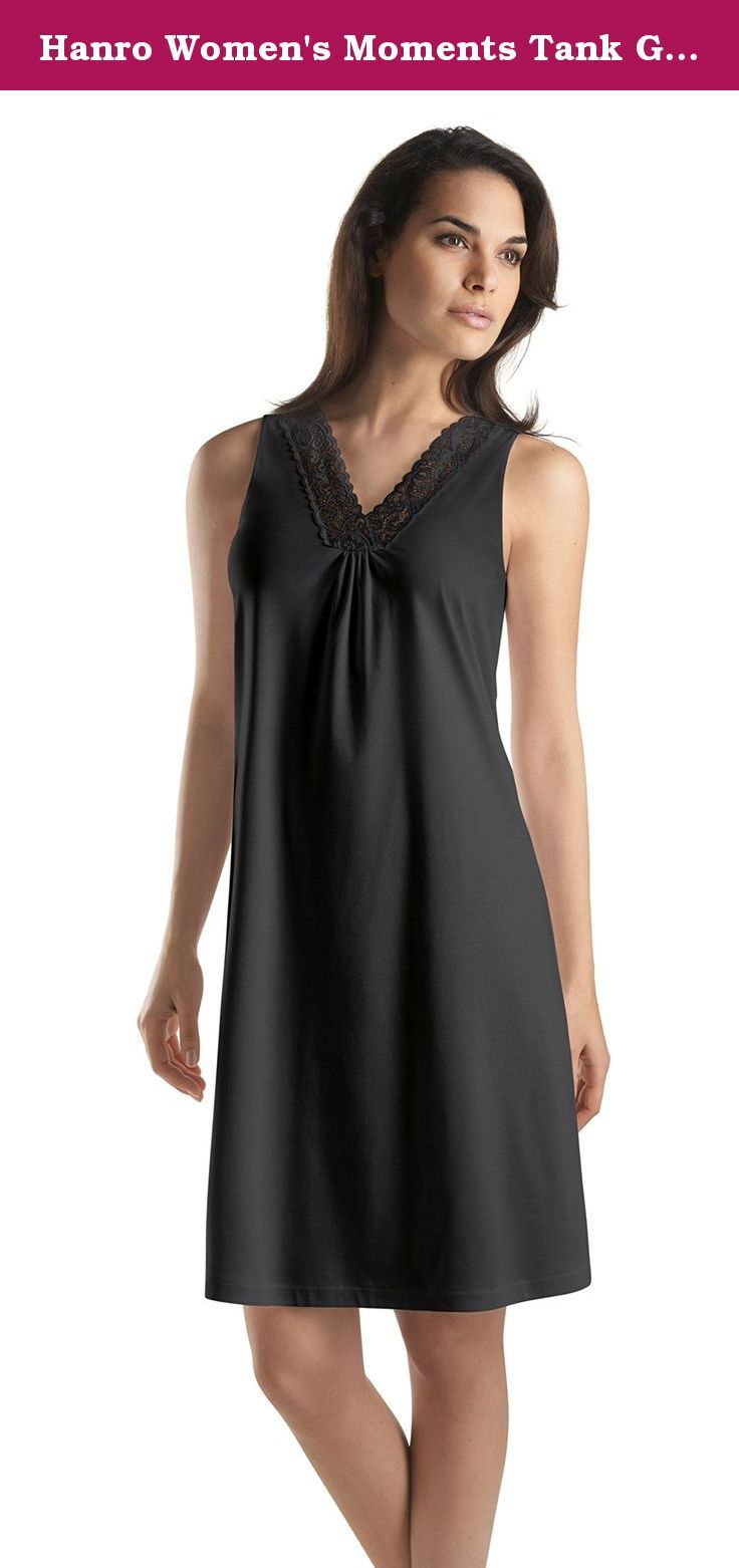 Hanro Women's Moments Tank Gown, Black, Medium. Elegant and romantic, the Hanro Moments tank gown is tailored from 100% mercerized cotton for incredible nighttime comfort.
