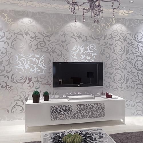 Victorian Damask Wallpaper Silver Leaf Scroll Background Wall Paper Roll Vinyl Bedroom Living