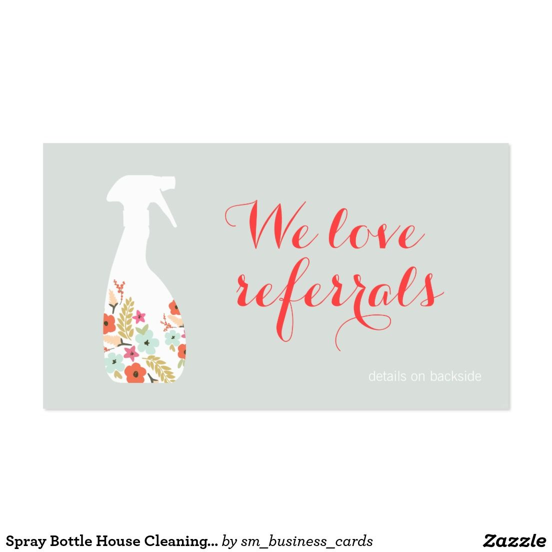 Spray Bottle House Cleaning Customer Referral Card | Cleaning ...
