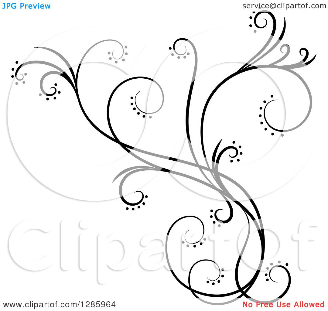 hight resolution of clipart of a black and white scroll design element with floral swirls 4 royalty free vector illustration by cherie reve