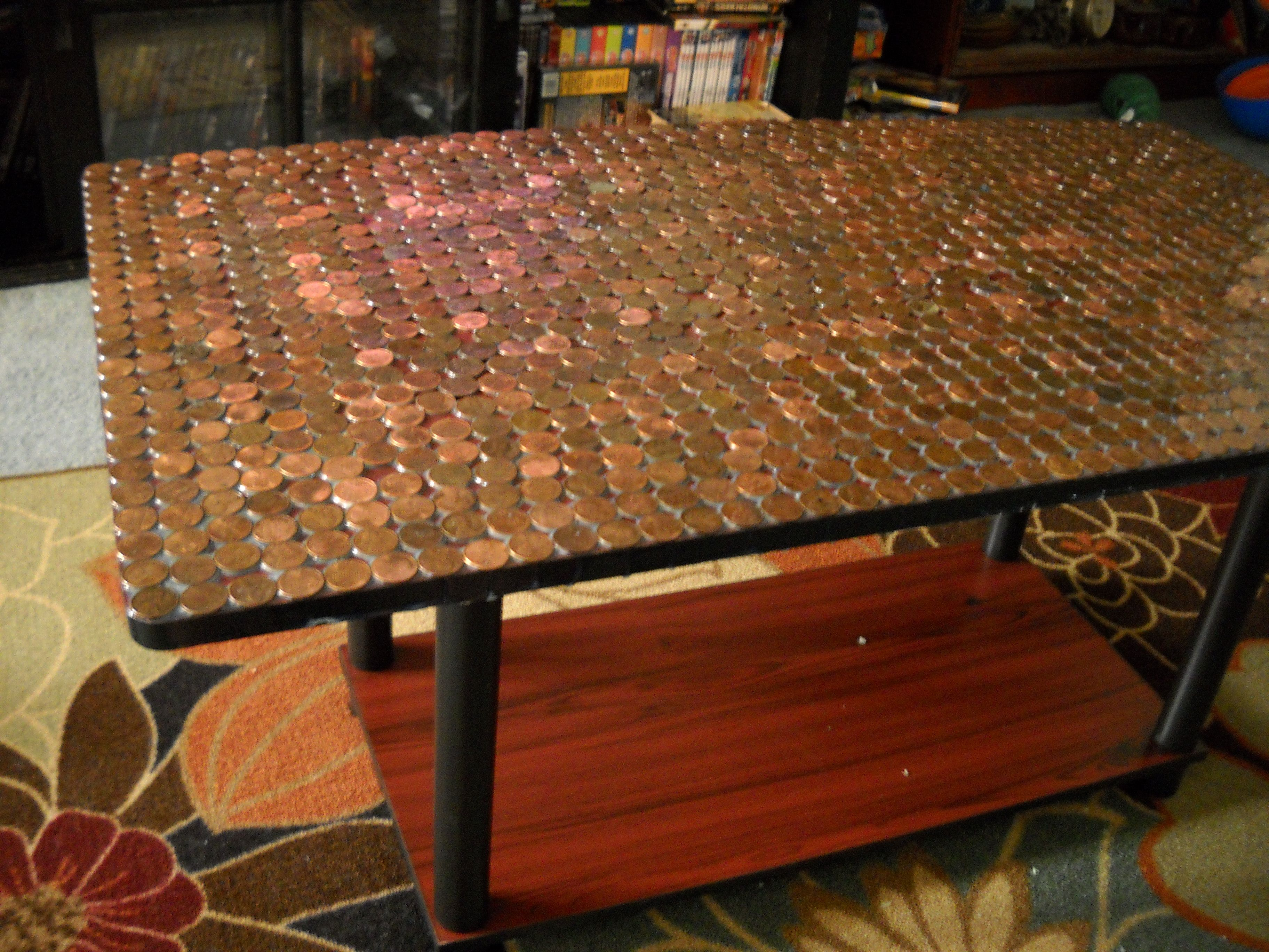 A Penny Covered Table For My Living Room Hot Glue Em Down