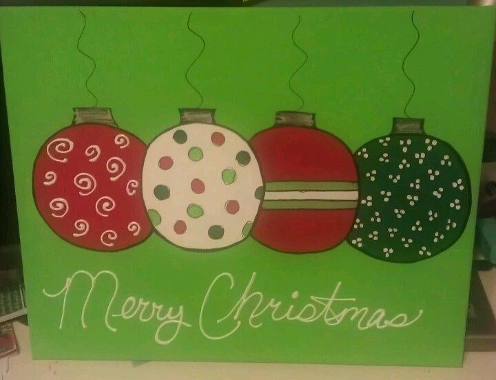 Cute Christmas Bulb Canvas Paint Idea For Holiday Decor Merry Red Green