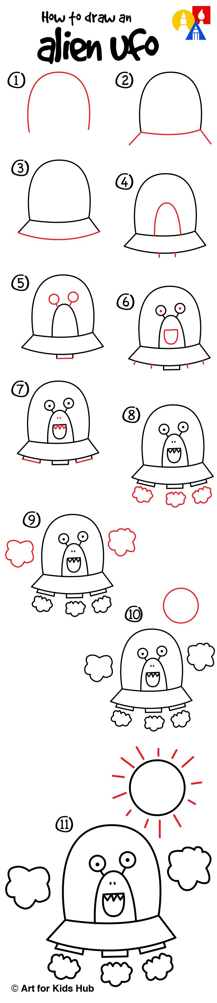 How To Draw An Alien UFO (young artists) - Art For Kids Hub ...