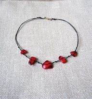 necklace, red, tagua nut beads, handmade jewelry, Peruvian tagua beads, eco friendly, ethical chic, fair trade