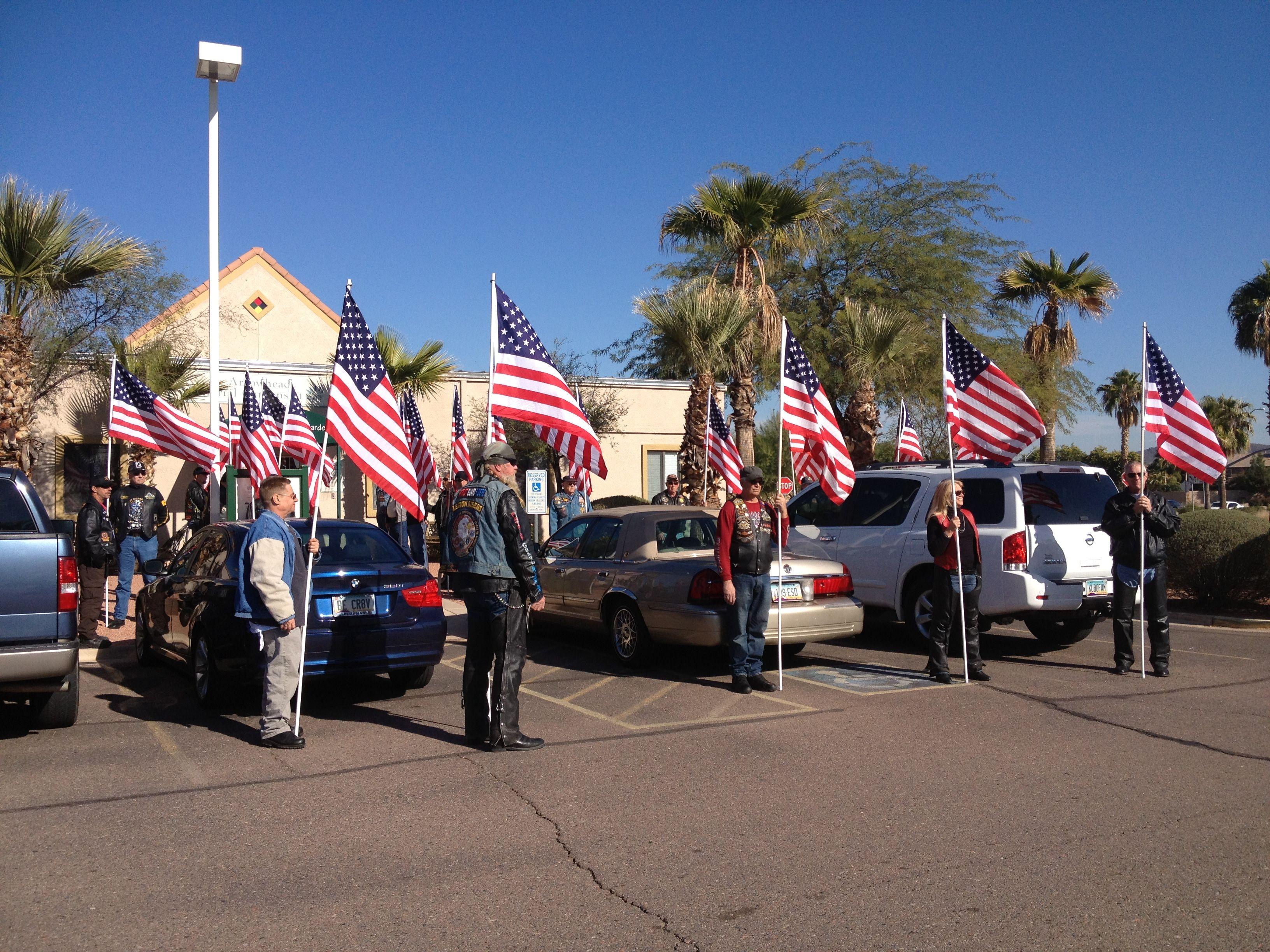 The Patriot Guard Riders Of Arizona Honoring A War Veteran