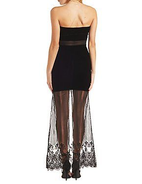 Rehab Plunging Velvet and Sheer Lace Maxi Dress