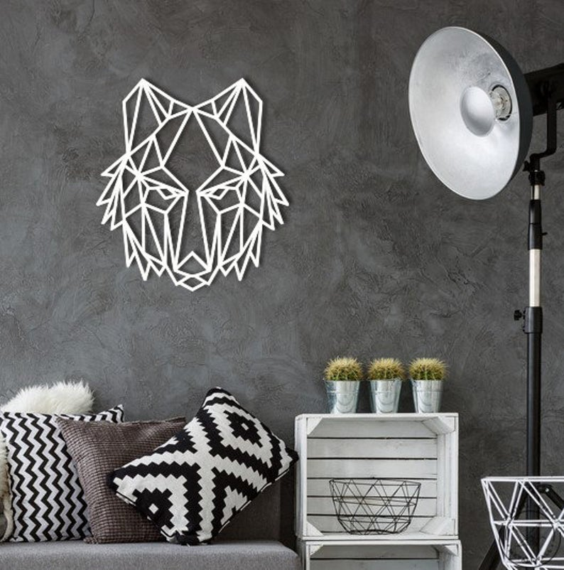 Metal Wall Art Geometric Howling Wolf Steel Home Decor Scandi Etsy Metal Wall Art Metal Letter Wall Art Geometric Wolf