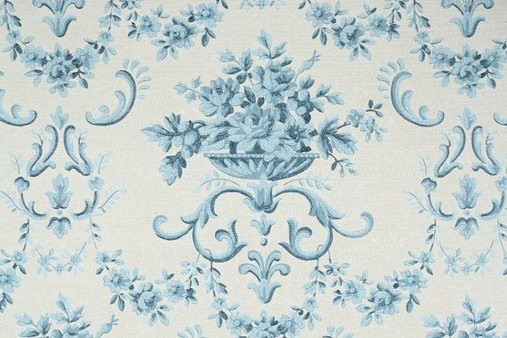 Blue And White Flower Wallpaper: 1950s Vintage Wallpaper By The Yard