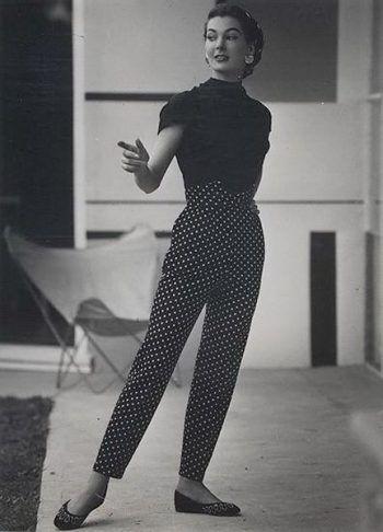 39cefb7efaa 1950s polka dot pants with a V notch waisband