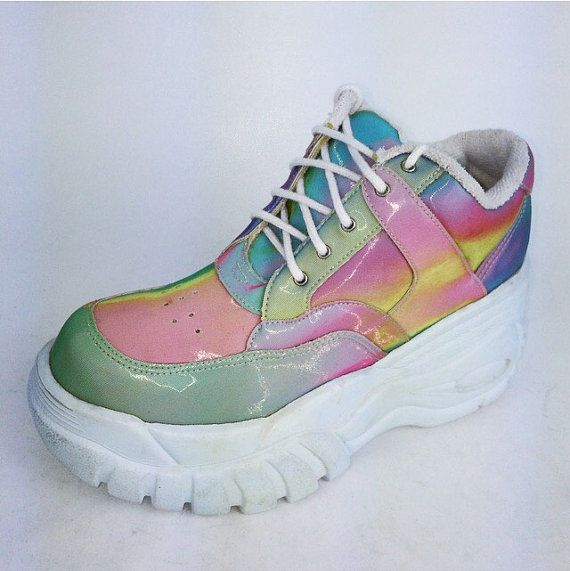 15b581cd4720 90s vintage crazy magical hologram platform wedge sneakers! Gorgeous  hologram…