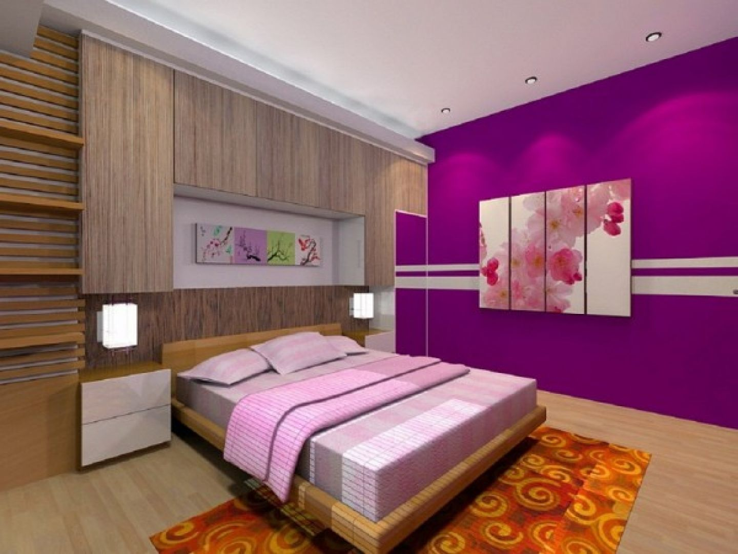 Paint colors for bedrooms purple - Bedroom Cool Bedroom Design For Women In Their 20s With Purple Color Schemes And Modern