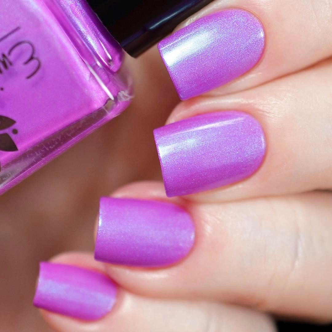 Emily De Molly nail polish in Ava #pink iridescent shimmer | Purple ...