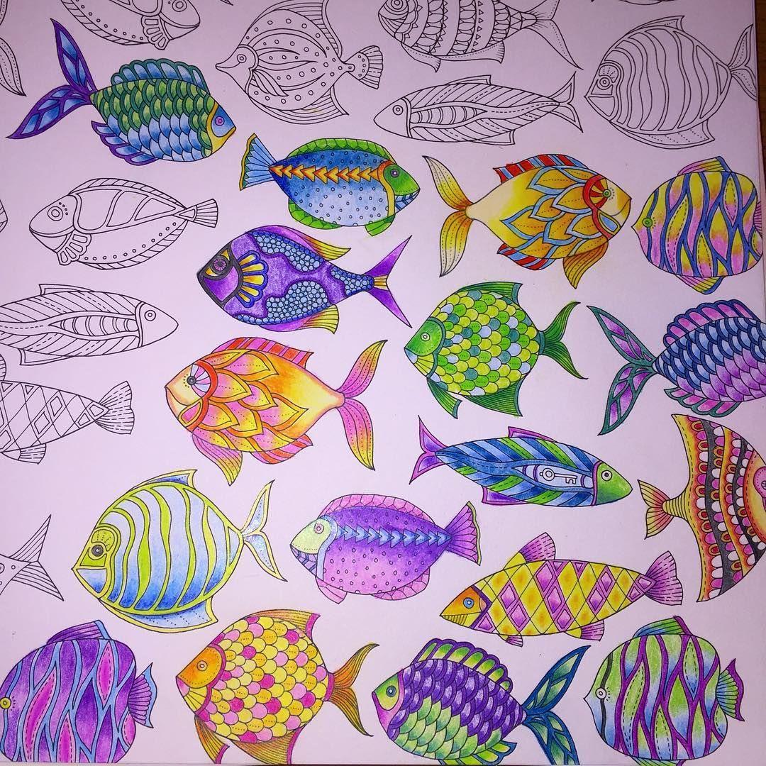 Zendoodle coloring enchanting gardens - Lost Ocean Johanna Basford Inspiration