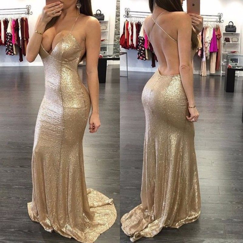 1634394f4 Gold Sequin Mermaid Prom Dress Sexy Spaghetti Straps Party Dress ...