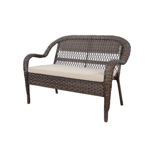 Hampton Bay Mix And Match Brown Wicker Outdoor Patio Loveseat With Beige Cushions 65 183363 The Home Depot In 2020 Beige Cushions Patio Loveseat Love Seat