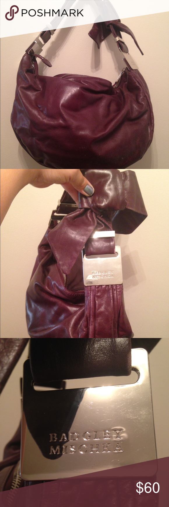 Auth Badgley Mischka plum leather hobo Beautiful purse, gently used Badgley Mischka Bags Hobos