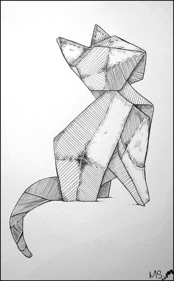 Origami Cat Tattoo