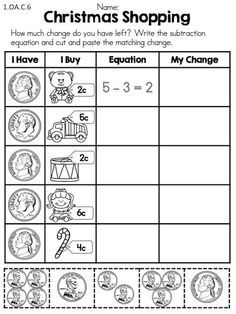 christmas math worksheets 3rd grade money - Google Search | Holiday ...