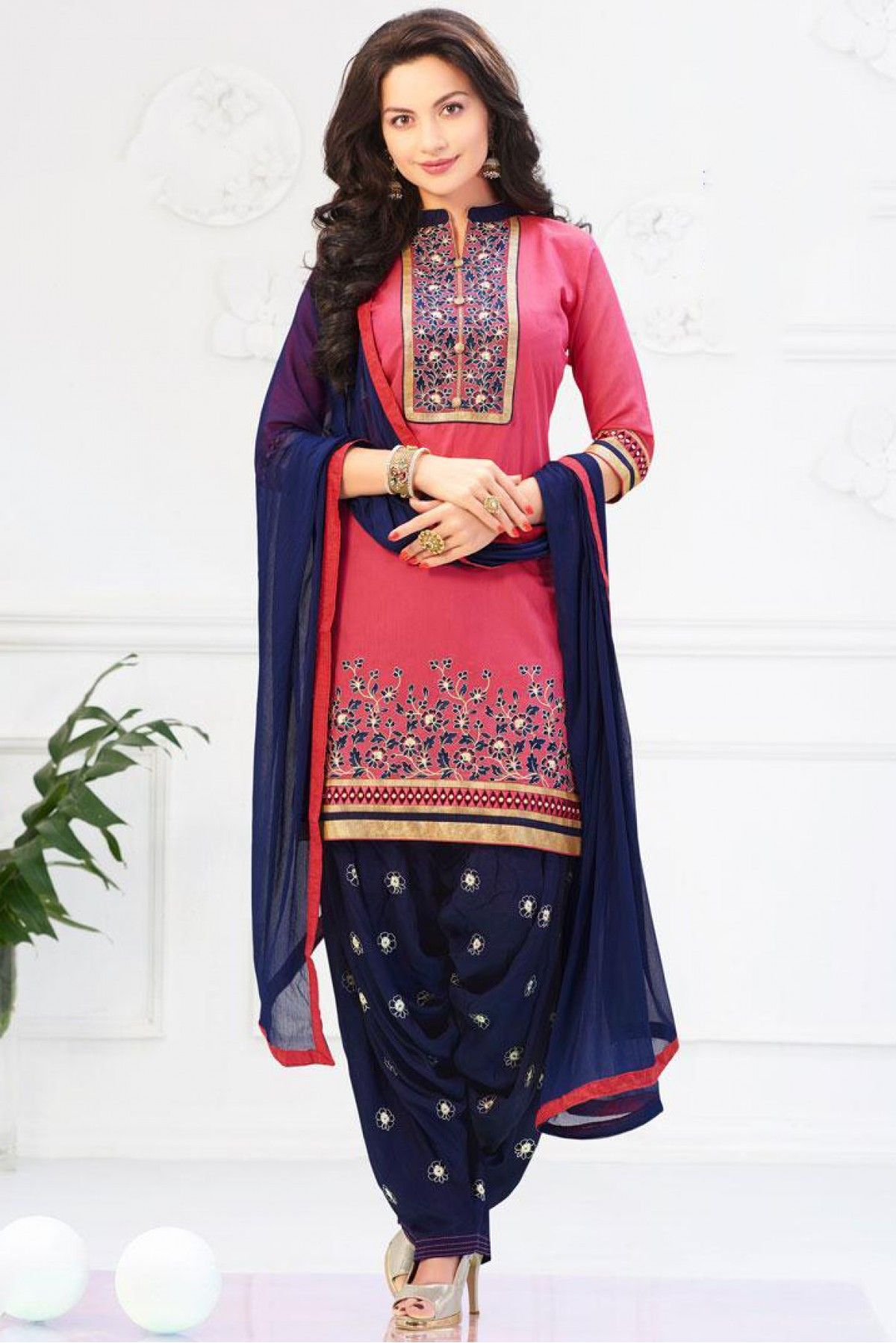 baf32faf05 Blue and Pink Colour Banarasi Chanderi Fabric Designer Unstitched Patiala Salwar  Kameez Comes With Matching Dupatta and Bottom Fabric.