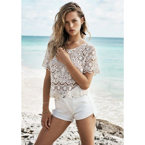 Anna Ewers Models Beach Style for Mango Summer '15 ❤ liked on Polyvore featuring people