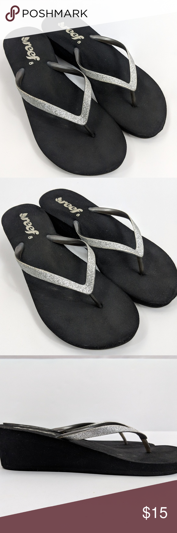 29d883cd319 Reef Krystal Star Silver Glitter Wedge Flip Flops Reef flip flops in size  8. Krystal Star in Black with silver sparkle   glittery straps.