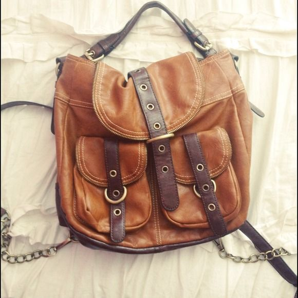 Stylish brown faux leather backpack/handbag Stylish brown faux leather backpack/handbag Melie Bianco Bags Backpacks