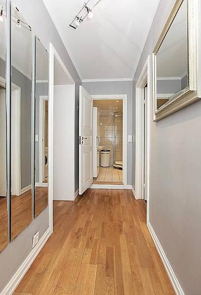 Narrow Dark Entryway : Great idea to make hallway look wider interiors