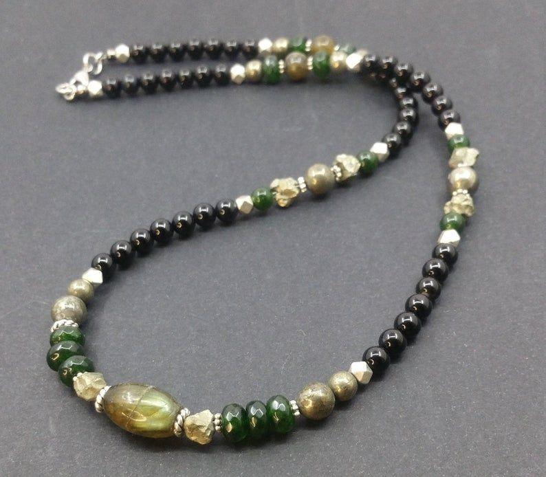 Handmade statement stones necklace Labradorite and agata stones boho beaded choker,