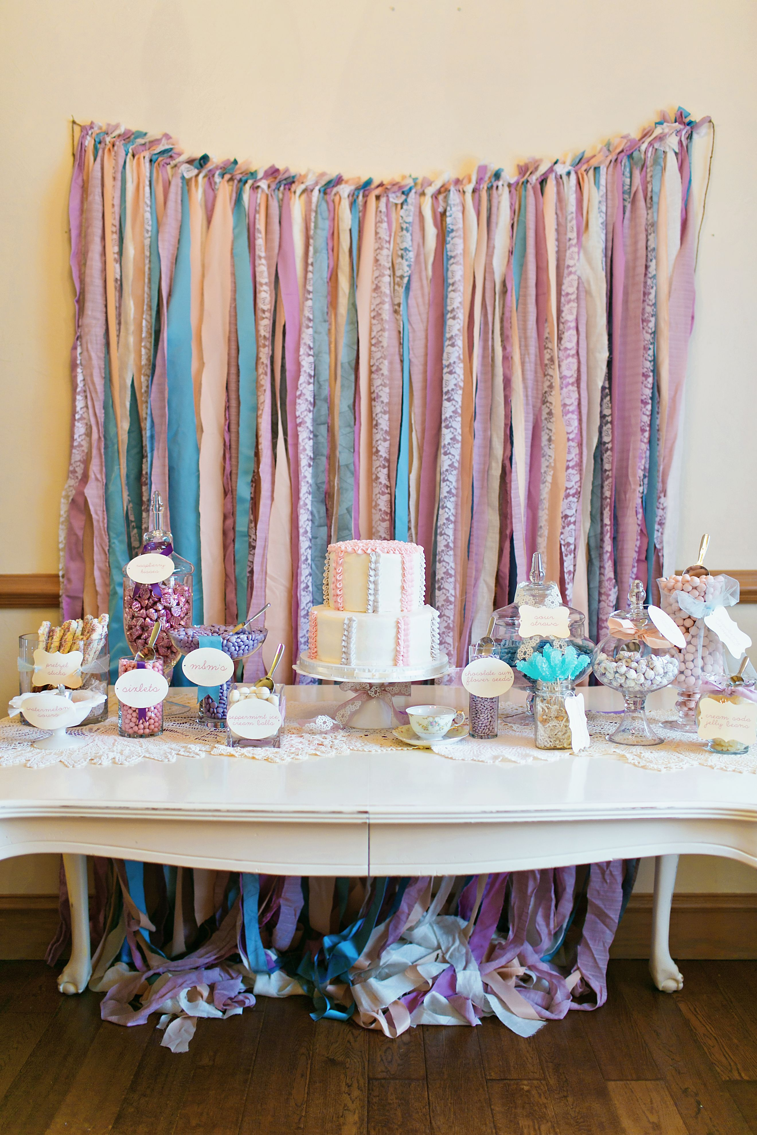 How to make a fabric backdrop - Girl Shabby Chic Tea Birthday Party Lots Of Diy Easy Diy Fabric Garland Backdrop