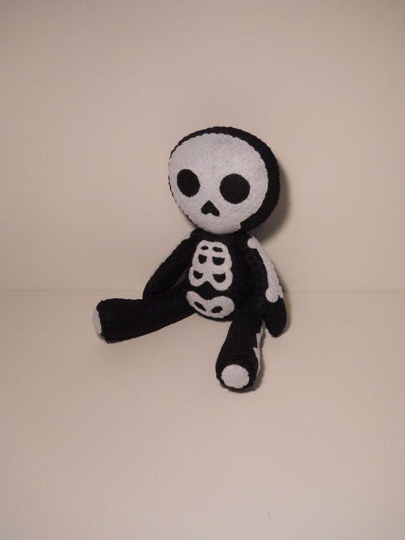Felt skeleton Halloween inspired custom plush stuffed rag doll toy
