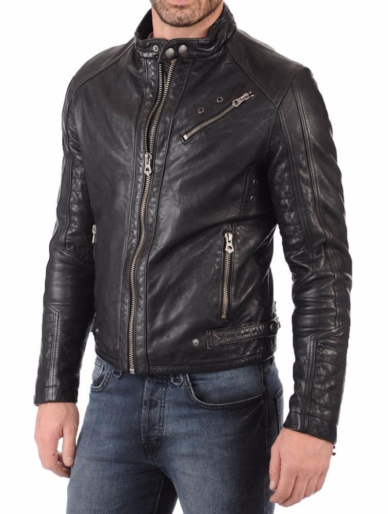 Leather Jacket Mens Genuine Lambskin Slim Fit Biker Motorcycle Real Cafe Racer