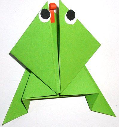 origami de la grenouille sauteuse projets essayer. Black Bedroom Furniture Sets. Home Design Ideas