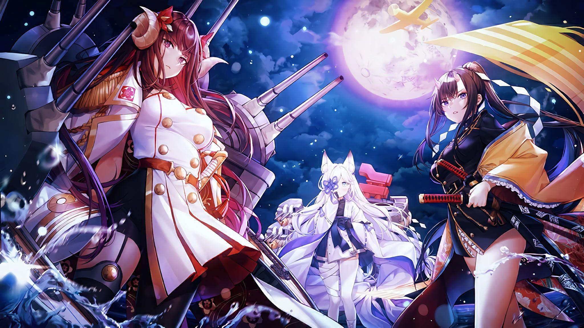 Azur Lane Suruga Azur Lane Ryuuhou Azur Lane Kasumi Azur Lane Night Sword 1080p Wallpaper Hdwallpaper In 2021 Anime 2048x1152 Wallpapers Character Wallpaper