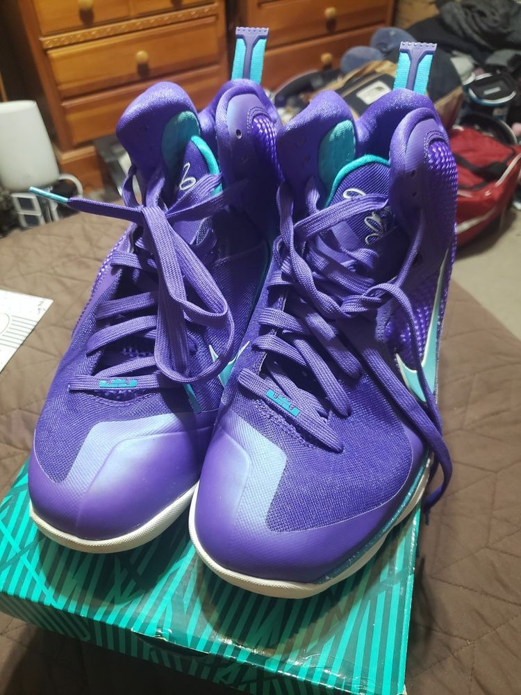 3fd6b2e9929a Nike LeBron James 9 IX Summit Lake Hornets Purple Basketball Shoes Size 12   fashion