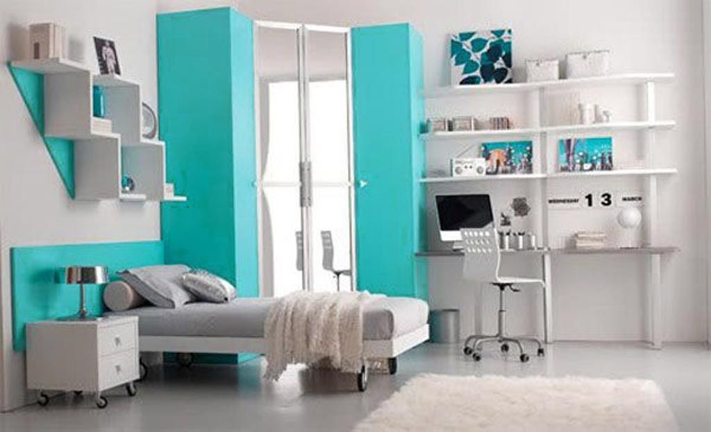 Superb Colorful, Beautiful And Cute Furniture For Teen Room Decorating Ideas: The  Scenic Light Blue Colour As The Emphasis In Your Teen Bedroom Interior Room  ... Part 30