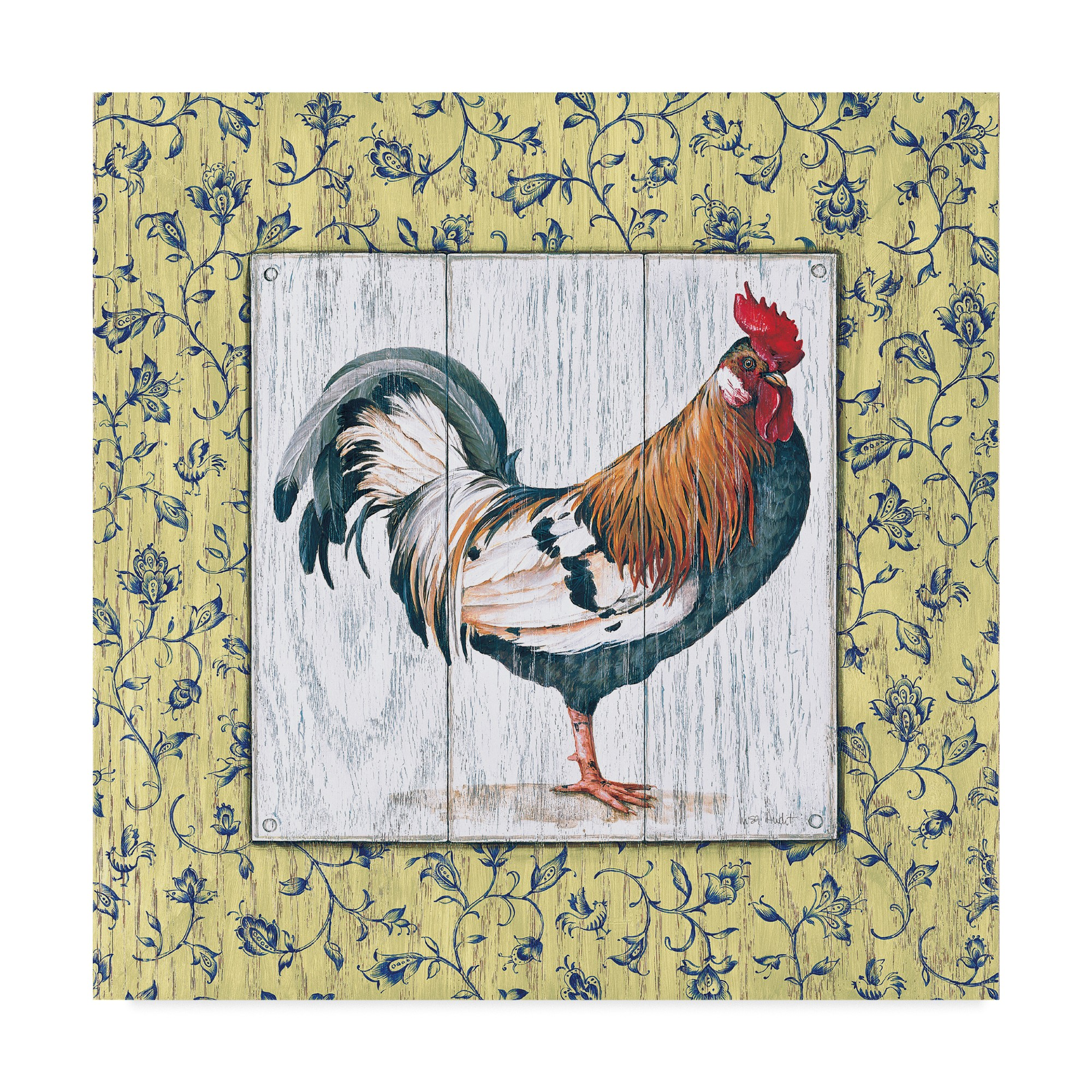 4 Single Paper Napkins for Decoupage Country Rooster Grey