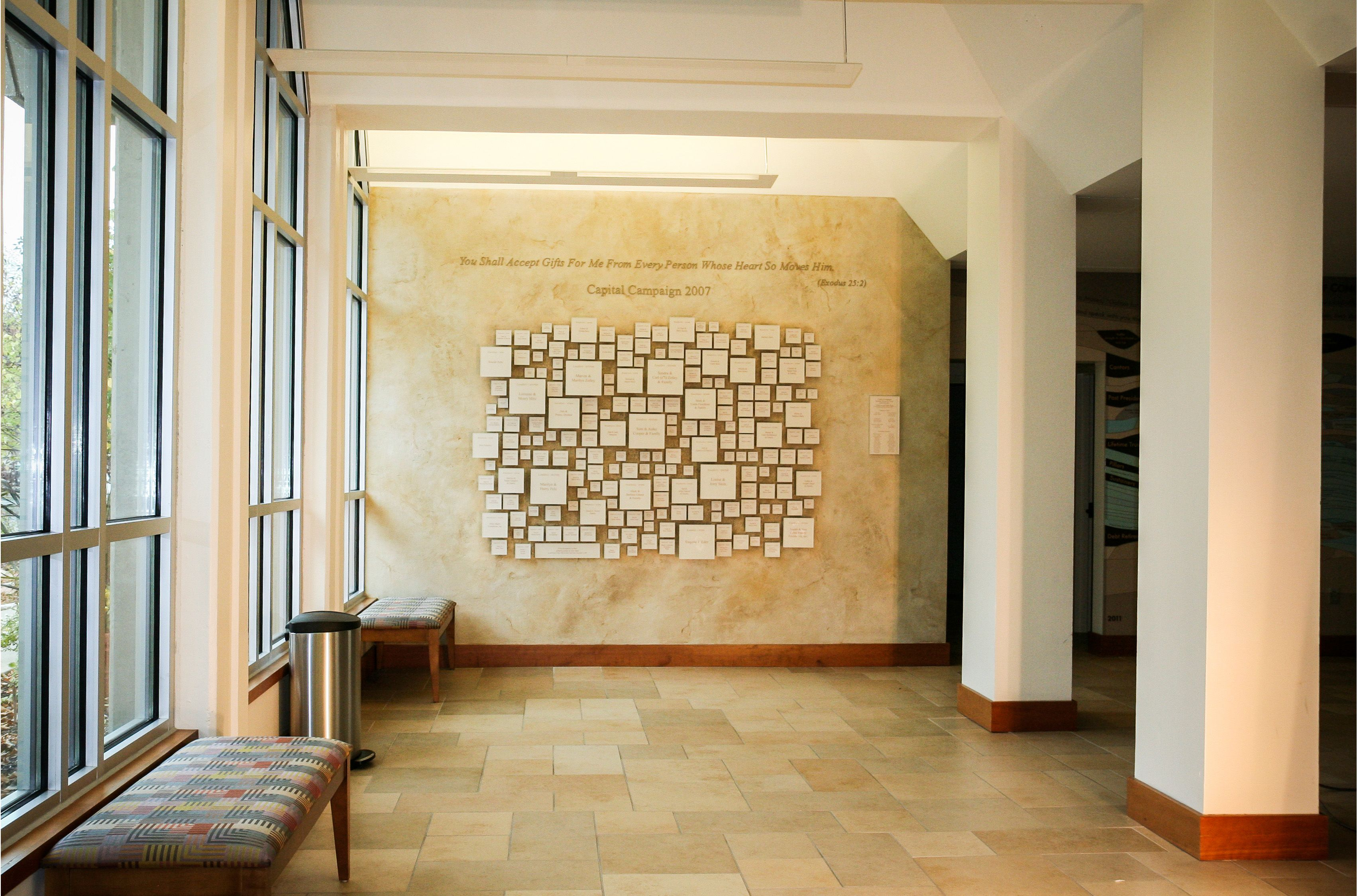 This donor wall for Beth Israel features frosted acrylic blocks with ...