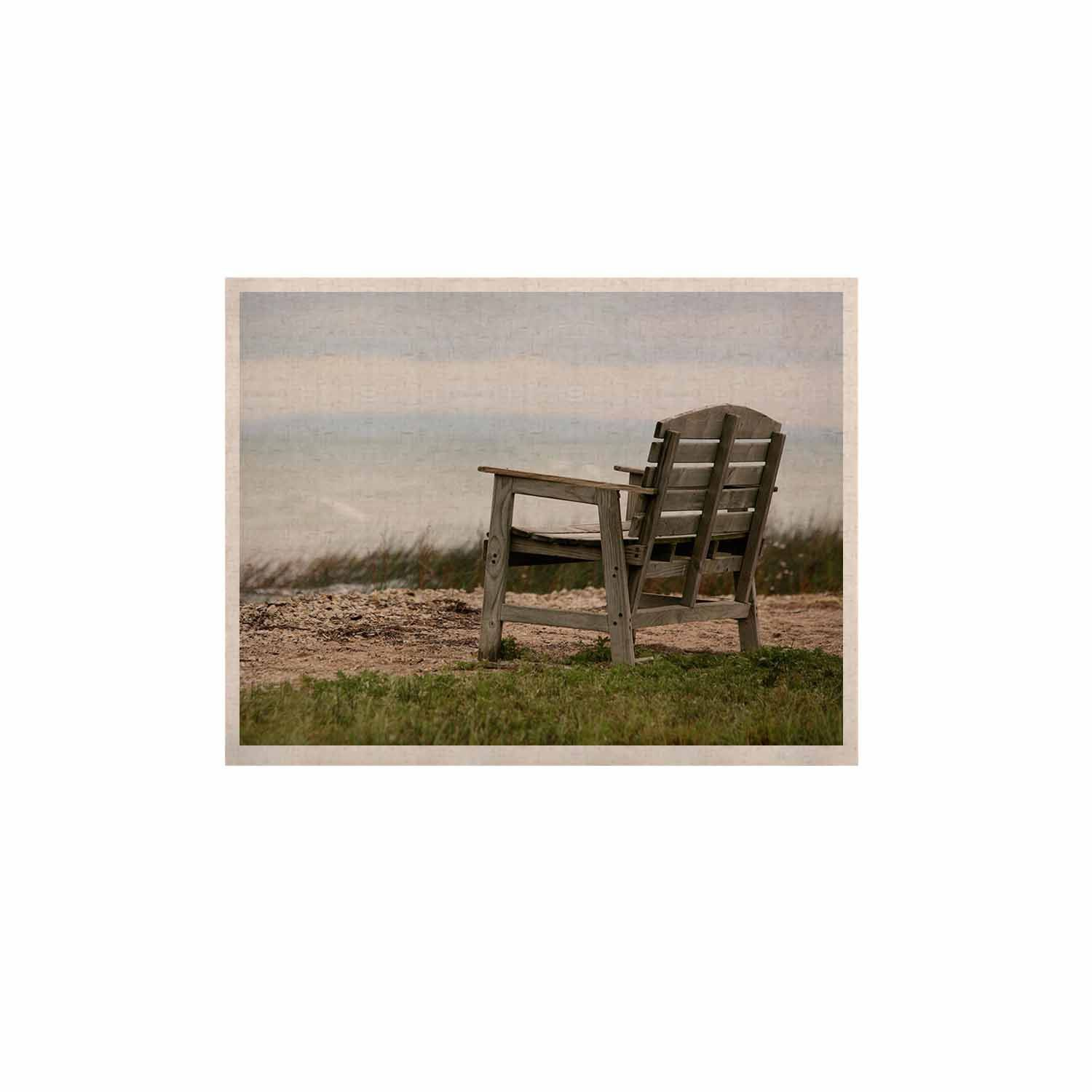 "Angie Turner ""Beach Bench"" Blue Green KESS Naturals Canvas (Frame not Included)"