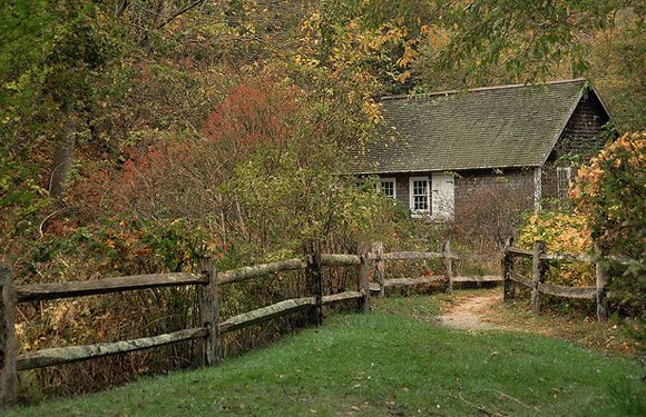 cottage in the woods with split rail fence