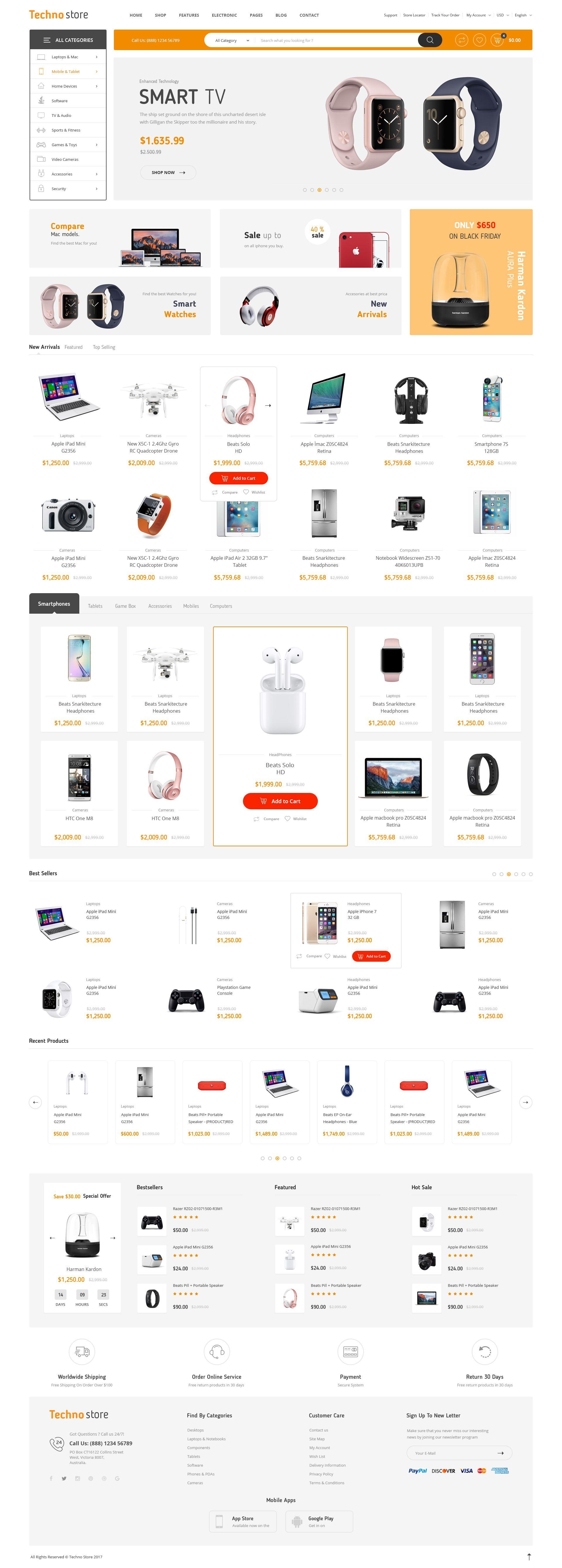 Küchenbar design-viertel techno store  electronic ecommerce psd store techno electronic