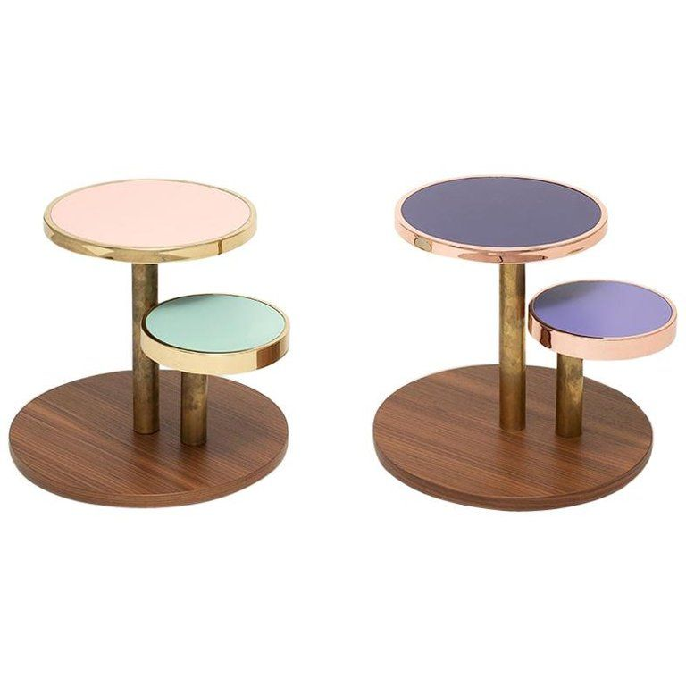 Orbis Side Table With Colored Round Tops And Brass Or Copper