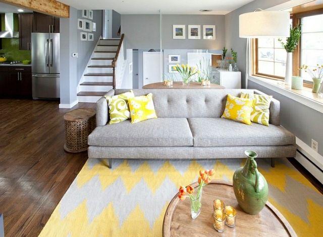 d coration int rieur la combinaison gris et jaune le parfait mariage coussins jaunes. Black Bedroom Furniture Sets. Home Design Ideas