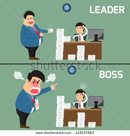Difference between boss and leader. Boss help employee for working to success, Boss shouts to employee in work fatigue, Leadership business concept, Vector illustration.
