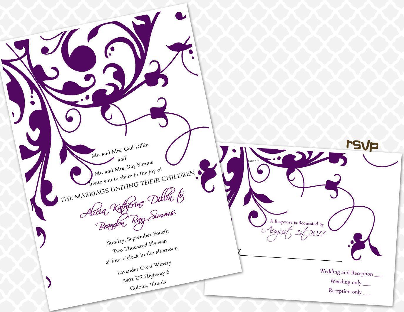 Fancy Flourish Wedding Invitation Classic Elegant by Inksnsuch ...