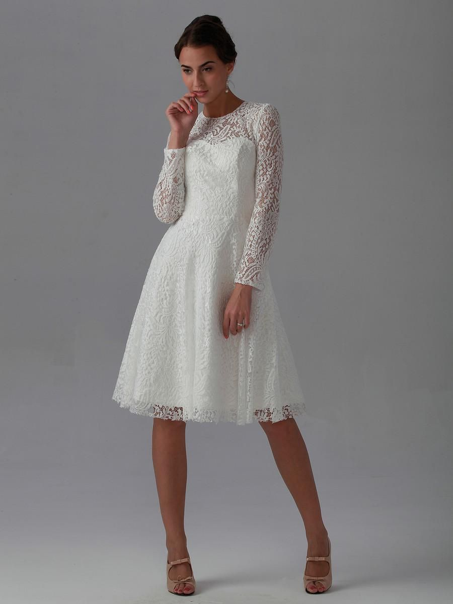 Short Wedding Dress Long Sleeve High Neck Cotton