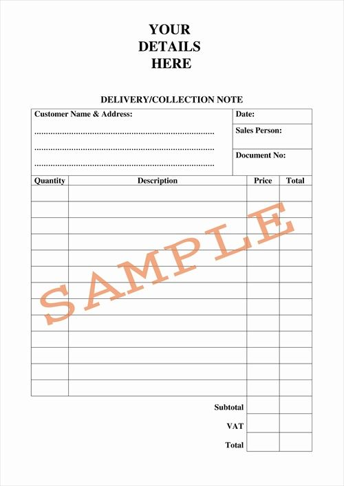 Delivery Note Template For Excel