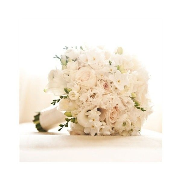 White Bridal Bouquet ❤ liked on Polyvore