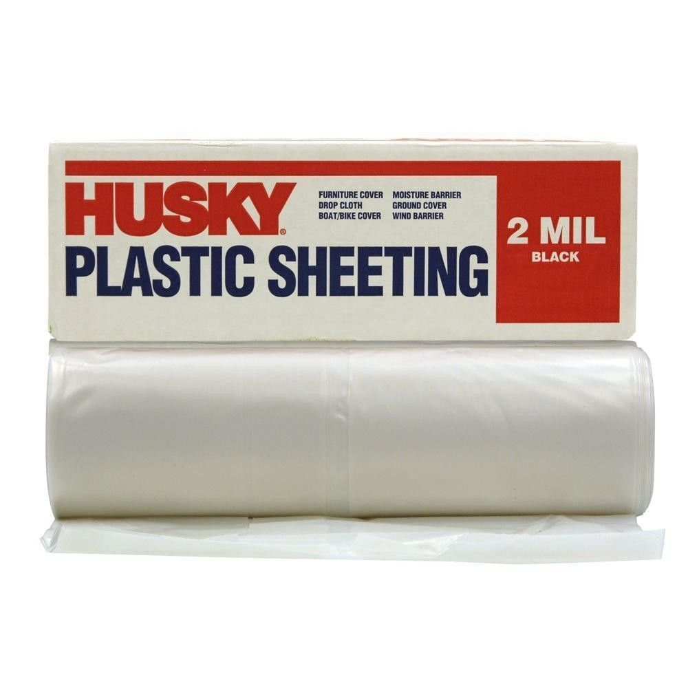 Husky 10 Ft X 100 Ft Clear 2 Mil Plastic Sheeting Ft Clear Thickness 2 Mil It Is Great When Used For Paint Prote Drop Cloth Plastic Sheets Paint Protection