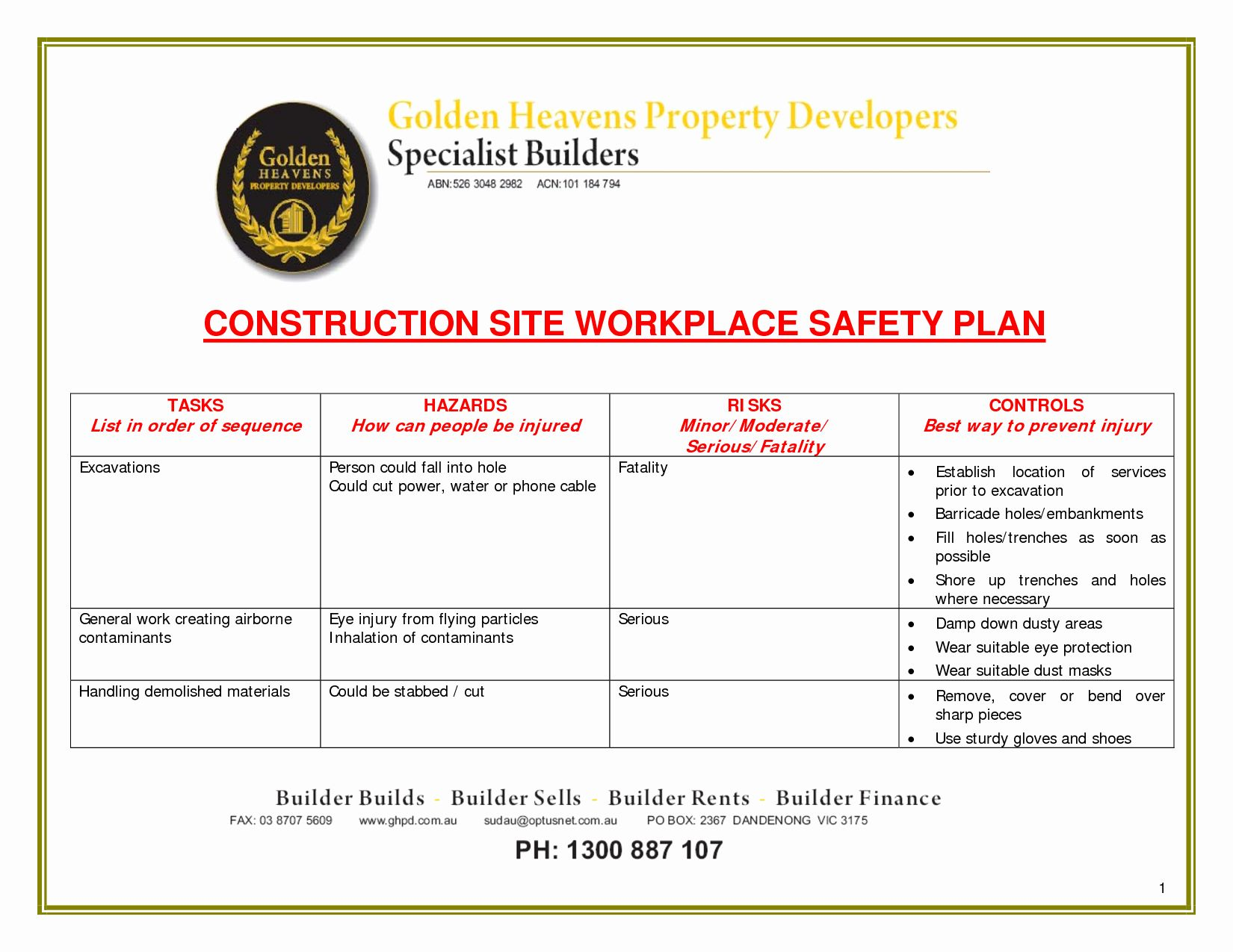 Site Safety Plan Template In 2020 How To Plan Business Plan