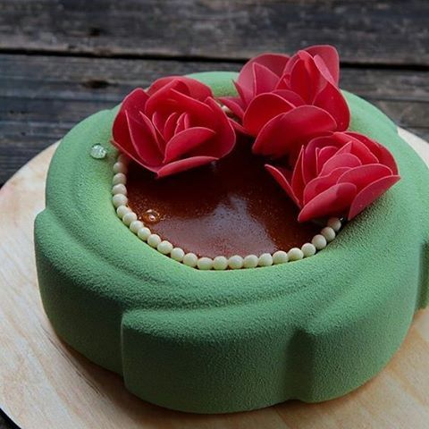 pastryinspirationschool.com  . #Repost @feya_ru: Apricot, raspberry and pistachio mousse cake. The chocolate flowers.
